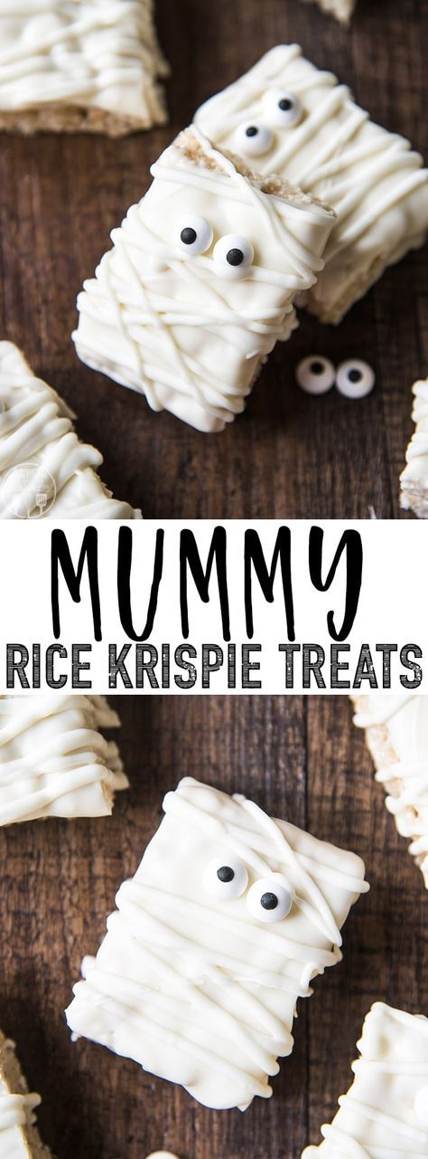 These mummy rice krispie treats are such an easy, and adorable Halloween treat! #ricekrispiestreats