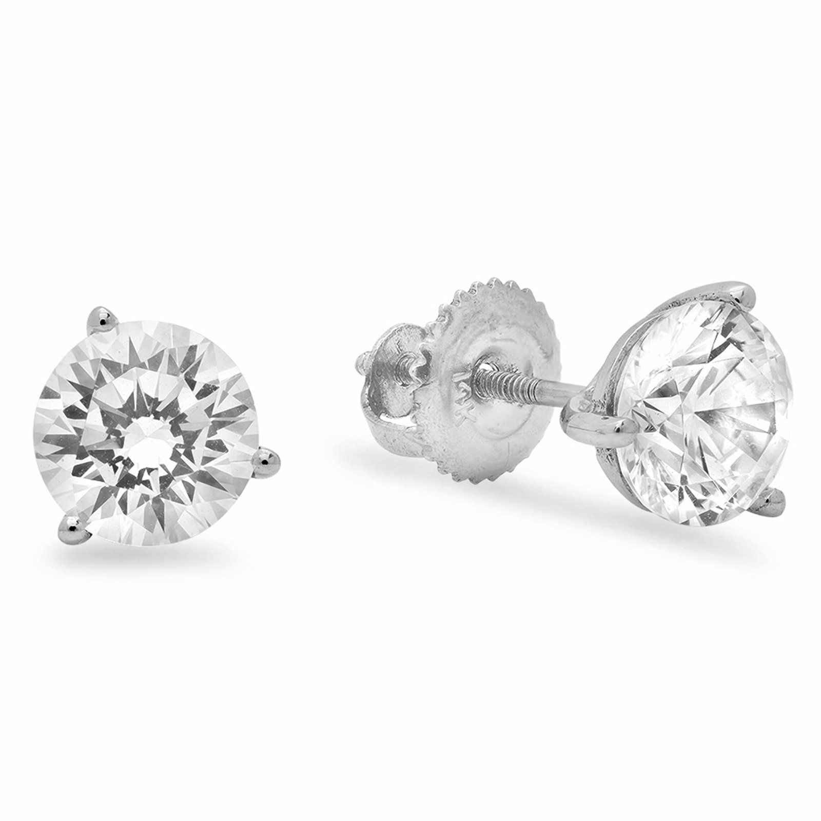 2 0 ct Round Cut Simulated Diamond CZ Solitaire Martini Style Stud