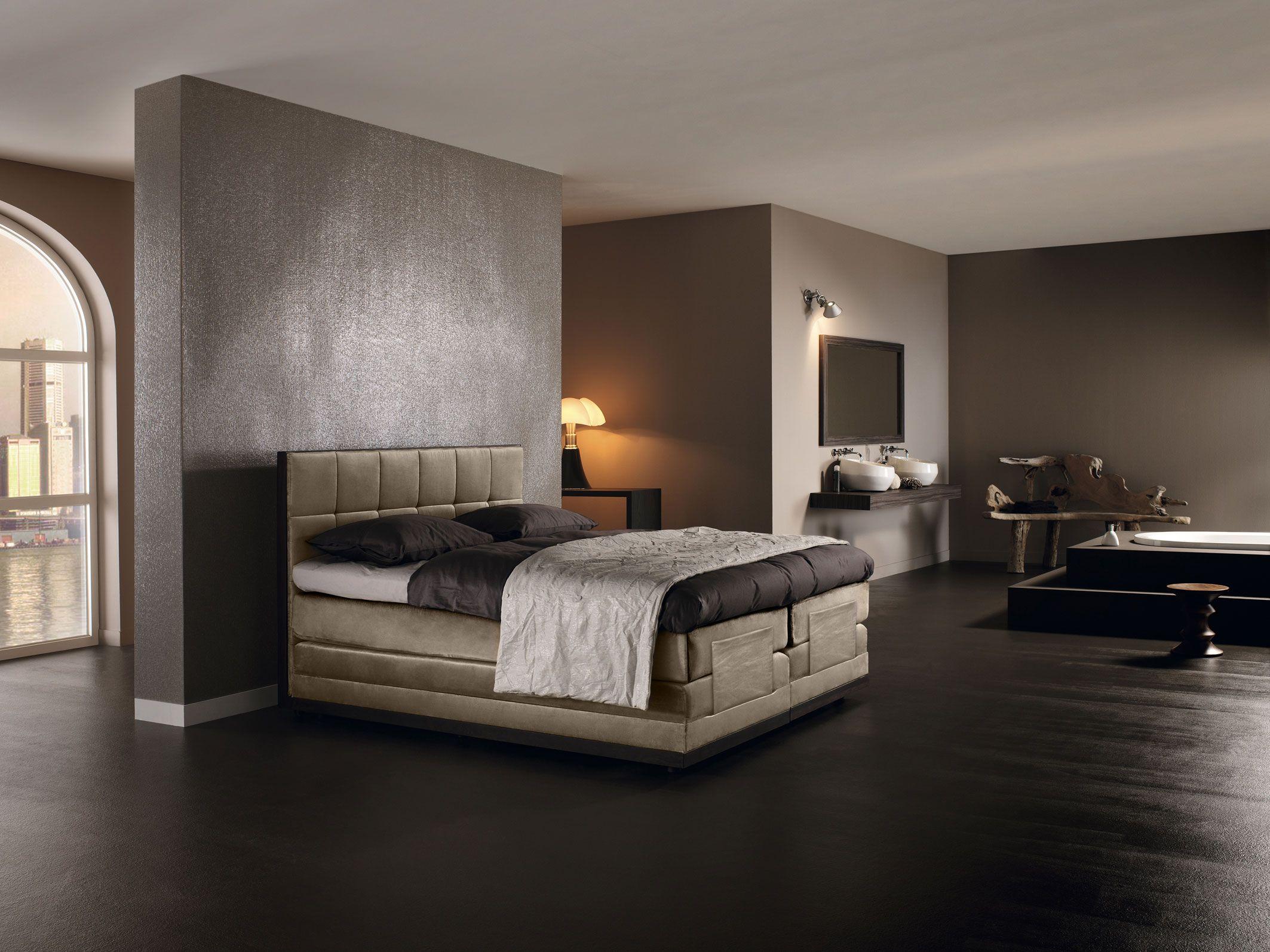Slaapkamer annex badkamer idee n voor het huis pinterest slaapkamer badkamer en hoofdbord bed - Grijze hoofdslaapkamer ...