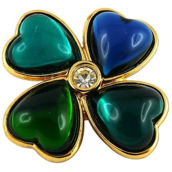 efacab4c6c3 Preowned Yves Saint Laurent Ysl Vintage Clover Heart Brooch ($220) ❤ liked  on Polyvore featuring jewelry, brooches, multiple, vintage pins brooches,  ...