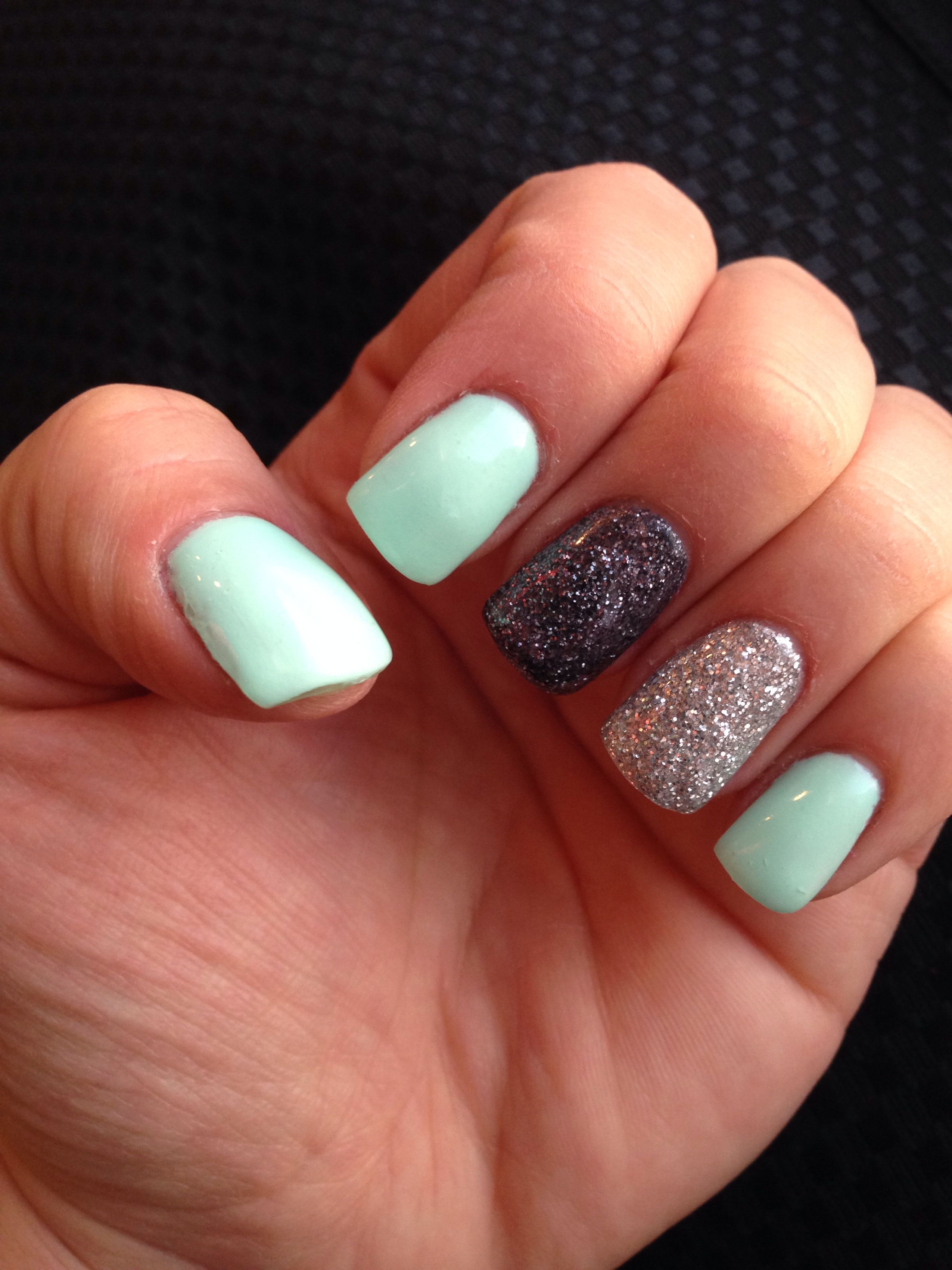Pin By Emily Carte On Nails Gel Nails Glitter Gel Nails Mint Gel Nails