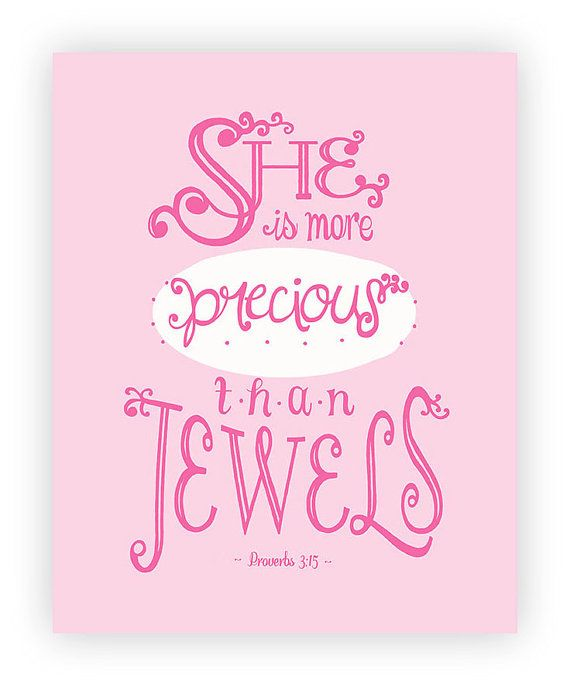 Bible Baby Quotes: Baby Girl Bible Verse, Pink Nursery Print, 8x10 Proverbs