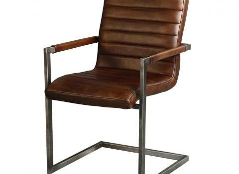 Stoel Metalen Frame : Eetkamer stoel swan in dik leder met metalen frame en armleuningen
