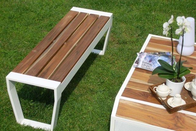 Gartenbank OSCAR Holz Alu Weiss Lgtek Outdoor