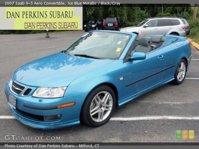 Blue Metallic 2007 Saab 9 3 Aero Convertible With Black Gray Interior
