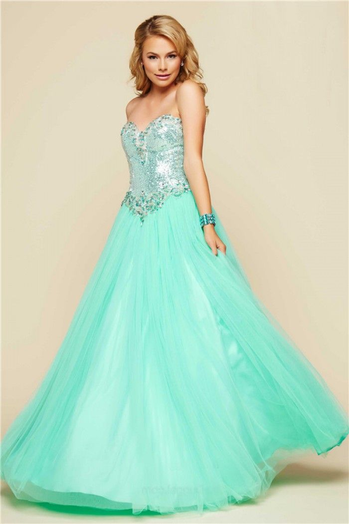 Ball Gown Strapless Corset Back Mint Green Tulle Sequin Beaded Prom ...