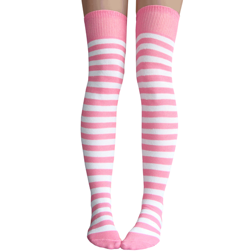 Pink White Striped Thigh Highs Striped Thigh High Socks Pink Socks Thigh High Socks