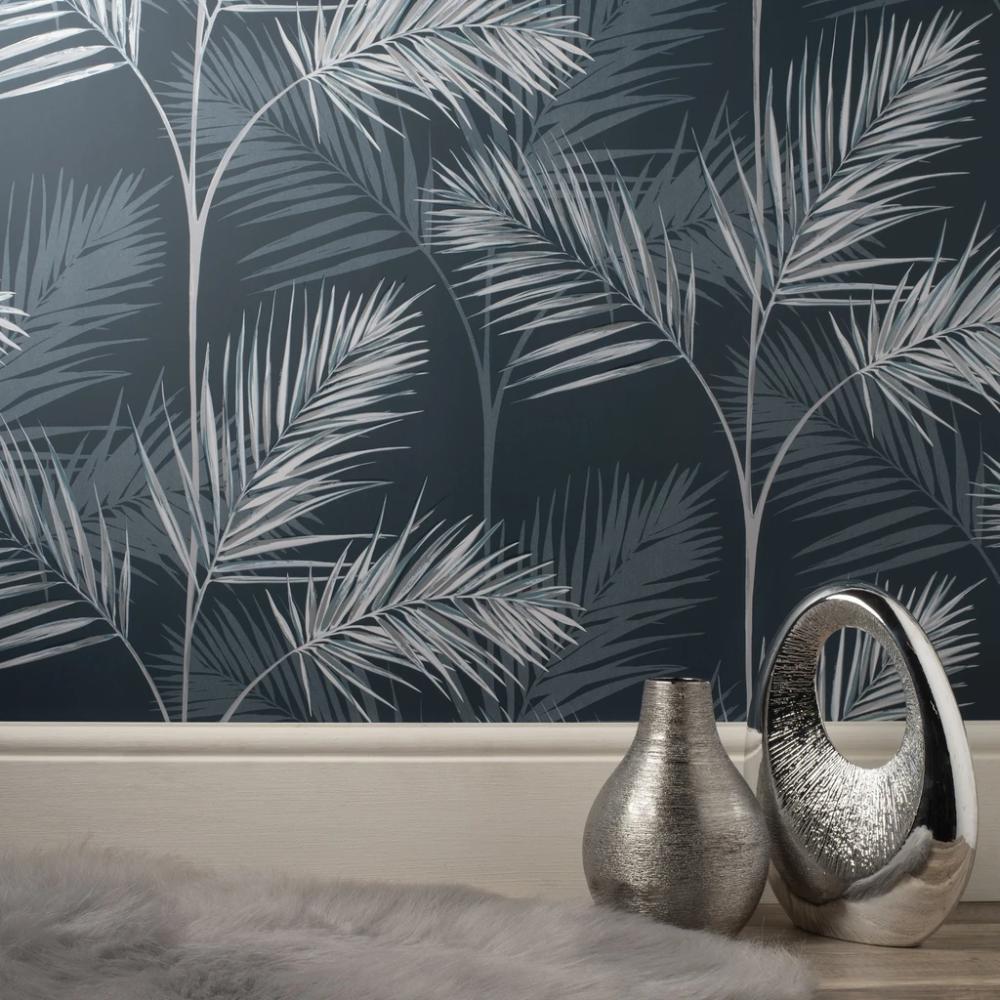 South Beach Navy Grey Fine Decor Fd42681 Tropical Wallpaper Wonderwall By Nobletts Navy Wallpaper Palm Leaf Wallpaper Leaf Wallpaper