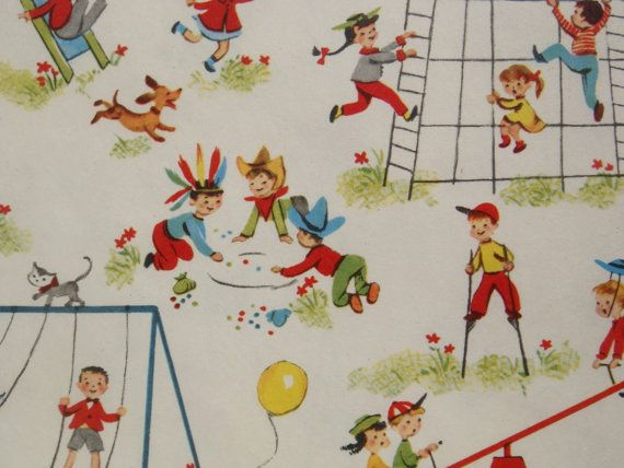 Vintage Gift Wrapping Paper  Juvenile Mid by TheGOOSEandTheHOUND