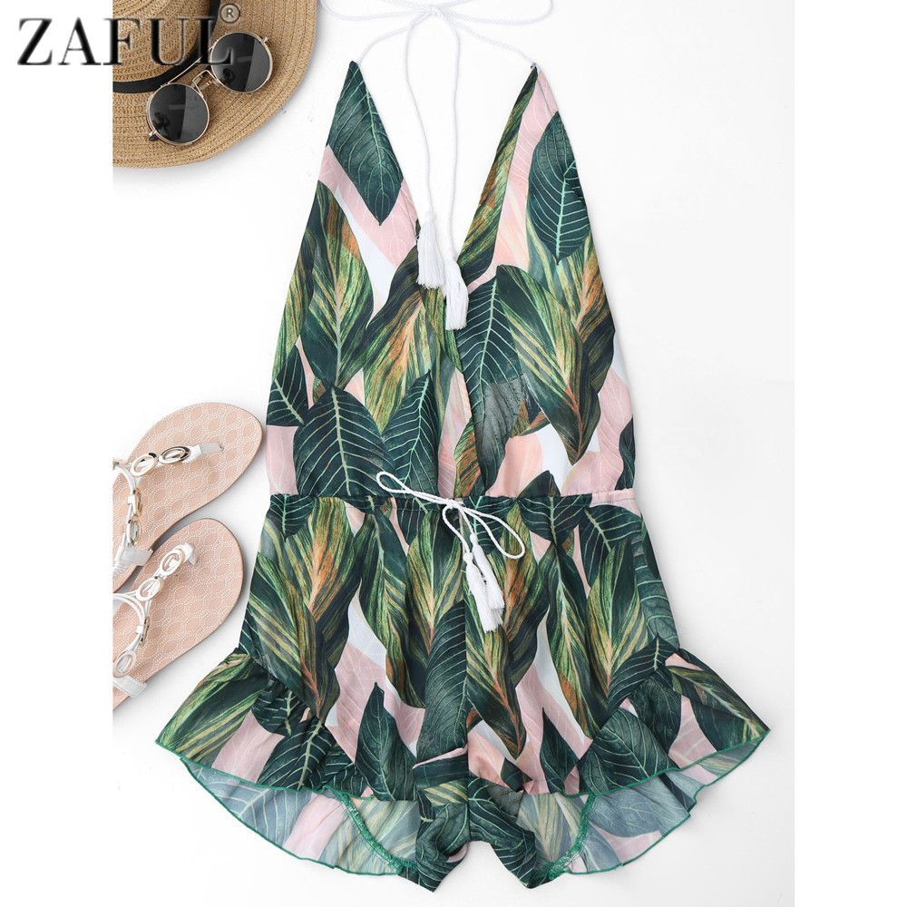 899e5bf4e163f1 ZAFUL Sexy Backless Trekkoord Leaf Print Cover Up Romper Vrouwen Bikini  Cover Up Strand Jurk Halter Vrouwelijke Badpak Beachwear
