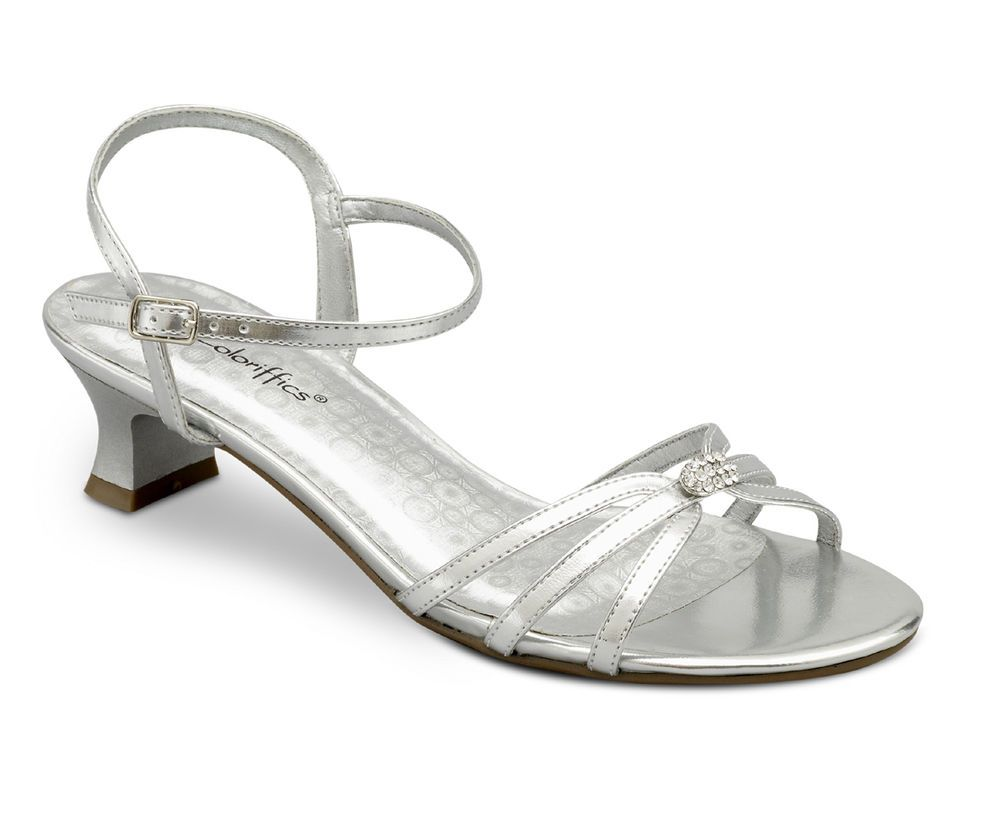 Black dress sandals for wedding - Bridal Silver Metallic Rhinestone Low Heel Dress Bridal Wedding Shoes