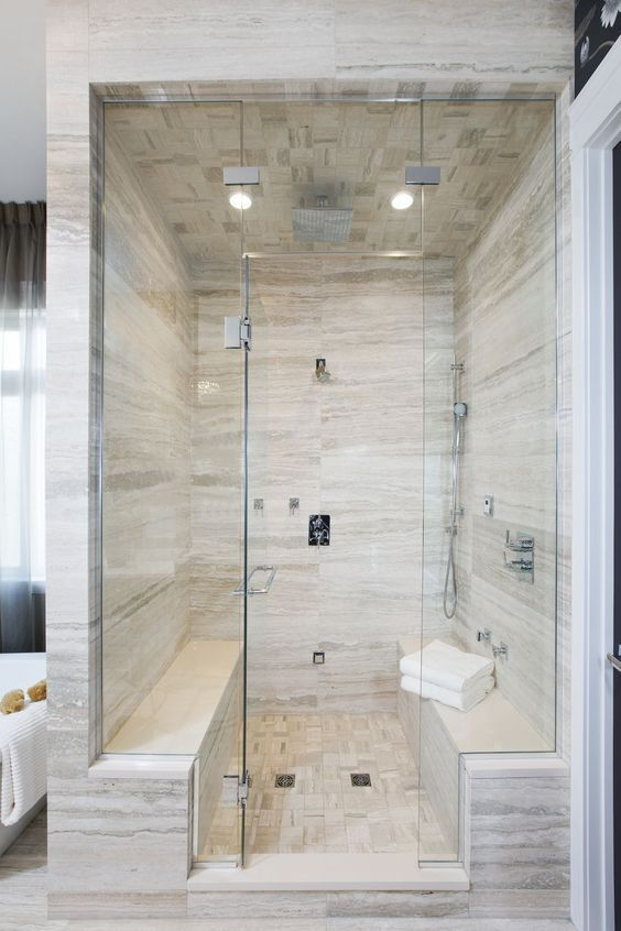 Consider Removing Window From Steam Shower And Adding Body Jets To Seated Area Bathroom Remodel Shower Bathroom Remodel Master Modern Master Bathroom