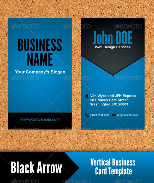 Black Arrow Vertical Business Card Template Fonts Colors And - Business card vertical template