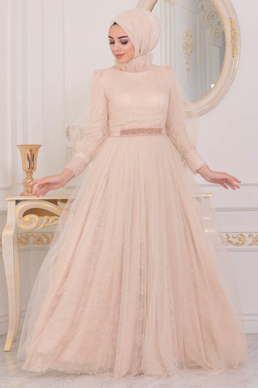 Tesetturlu Abiye Elbise Dantel Islemeli Bej Tesettur Abiye Elbise 40440bej Tesetturisland Com 2020 The Dress Musluman Modasi Aksamustu Giysileri