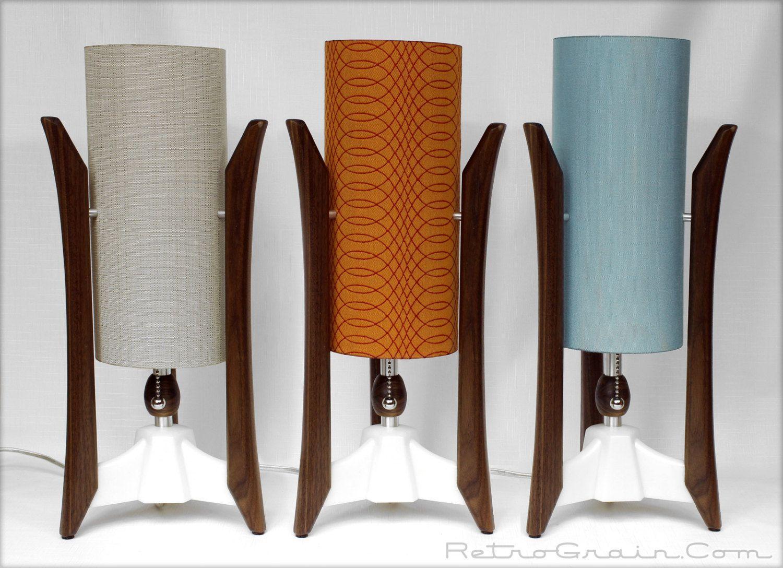 Retro Grain   Walnut Table Lamp   Mid Century Style   Space Age, Atomic,  Danish Modern, Fiberglass Shade   White Base   185 Dollars Each