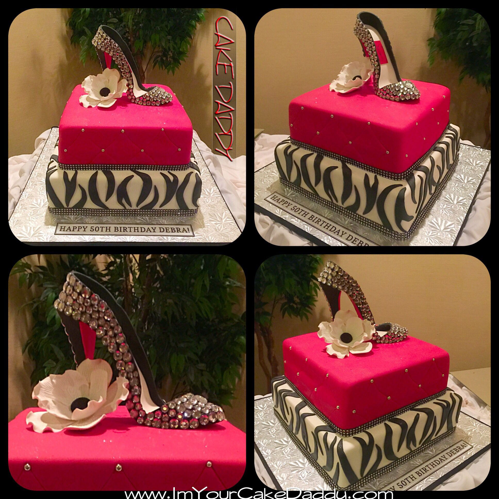 Stiletto Shoe With Bling On Zebra And Red Birthday Cake Stiletto