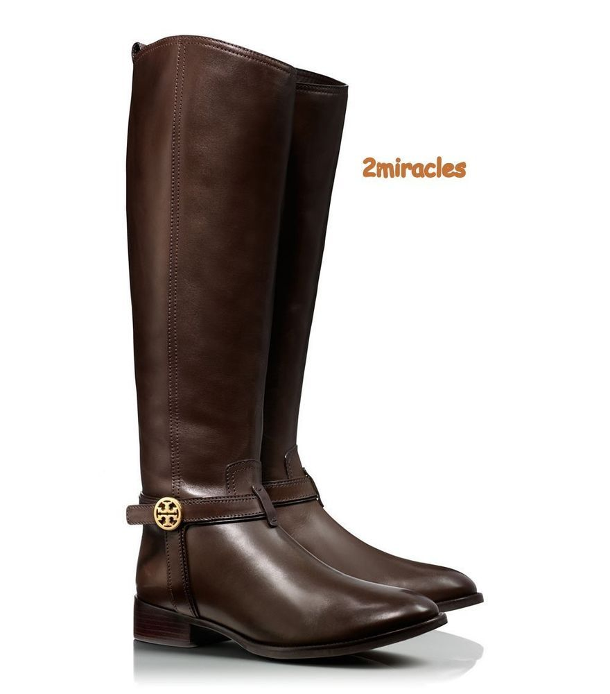 a9023f49eaa6d8 NIB Tory Burch Bristol Brown Coconut Gold Leather Riding Boots Tall Size 8   ToryBurch  Riding
