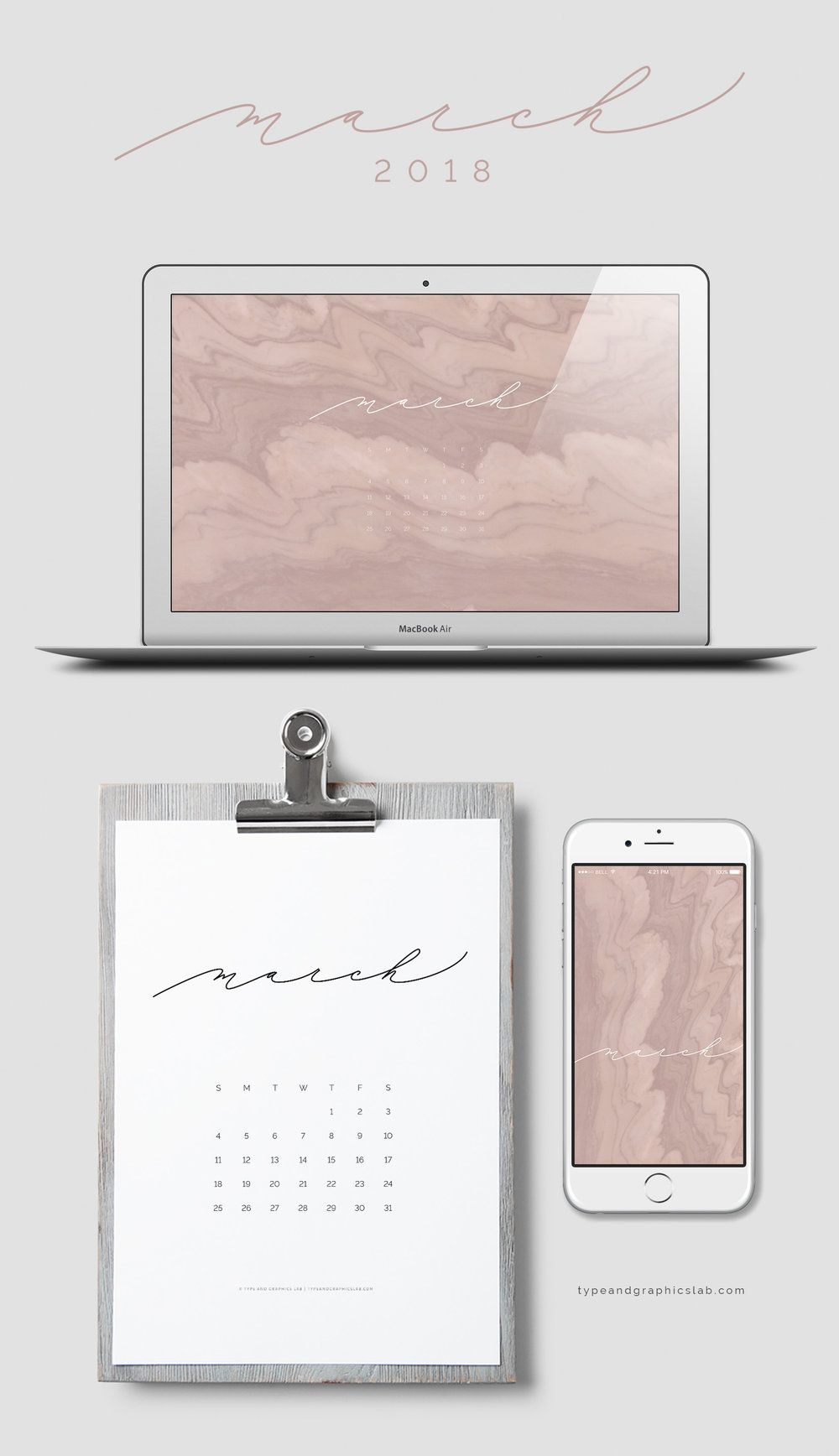 Free Calendar: March 2018 | Wallpaper notebook, Mac ...