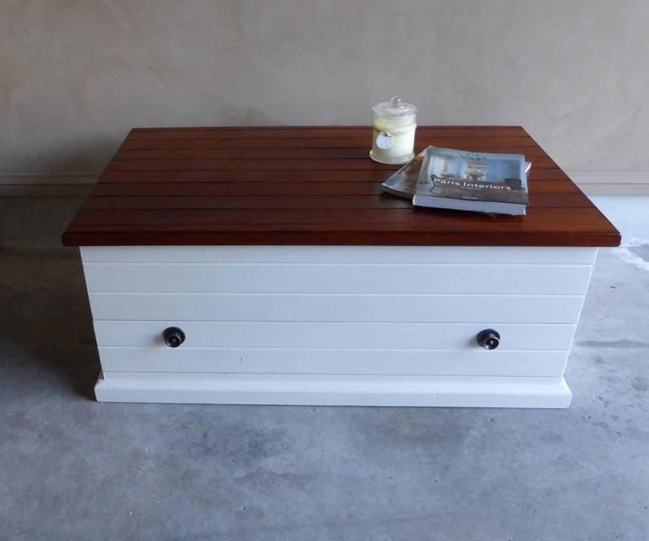 French Country Hamptons Style Coffee Table Trunk Storage Box With