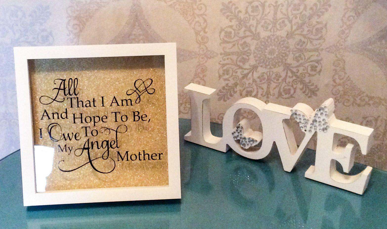 Mothers Day Memorial Box Frame Gold Glitter Black Vinyl White
