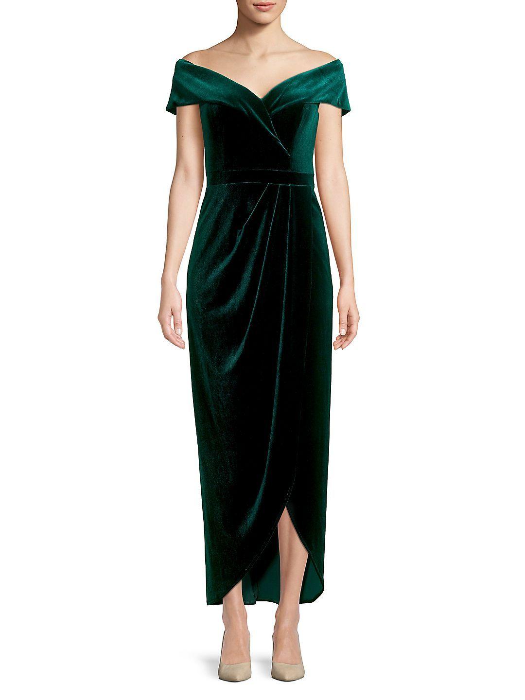 Xscape Off The Shoulder Velvet Dress Walmart Com Dresses Velvet Dress Green Bridesmaid Dresses [ 1440 x 1080 Pixel ]