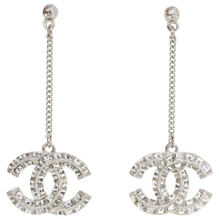 43076d521 For Sale on 1stdibs - Chanel Pave Crystal CC Drop Earrings Made In: France  Materials
