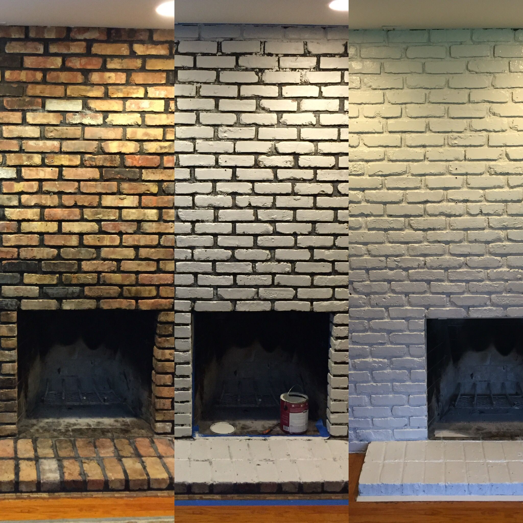 Diy Brick Fireplace Update From Black Mortar And Dated Brick To Modern Shabby Chic White White Wash Brick Fireplace Painted Brick Fireplaces Fireplace Update