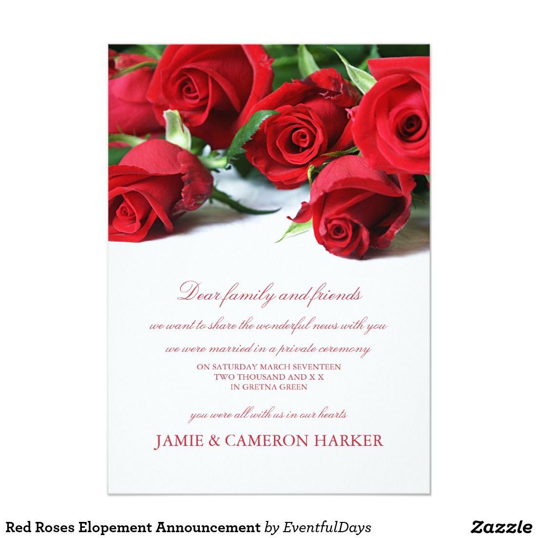 Red Roses Elopement Announcement | svatba - různé | Pinterest ...
