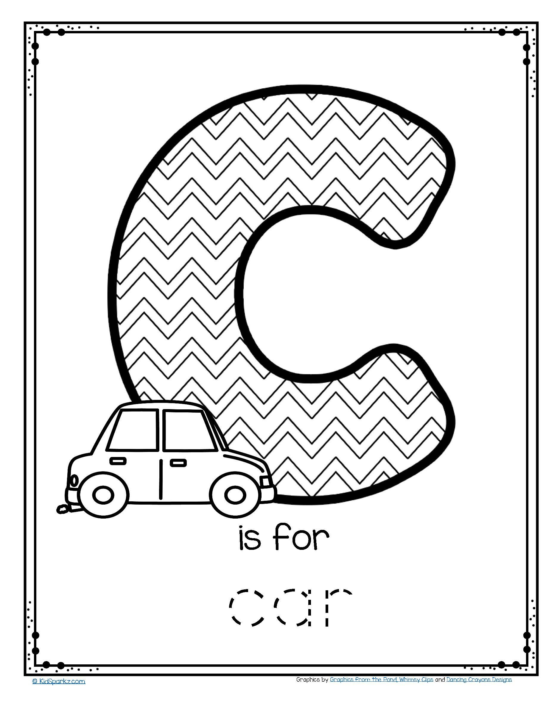 free c is for car trace and color printable freeprintable carpreschool tracing. Black Bedroom Furniture Sets. Home Design Ideas
