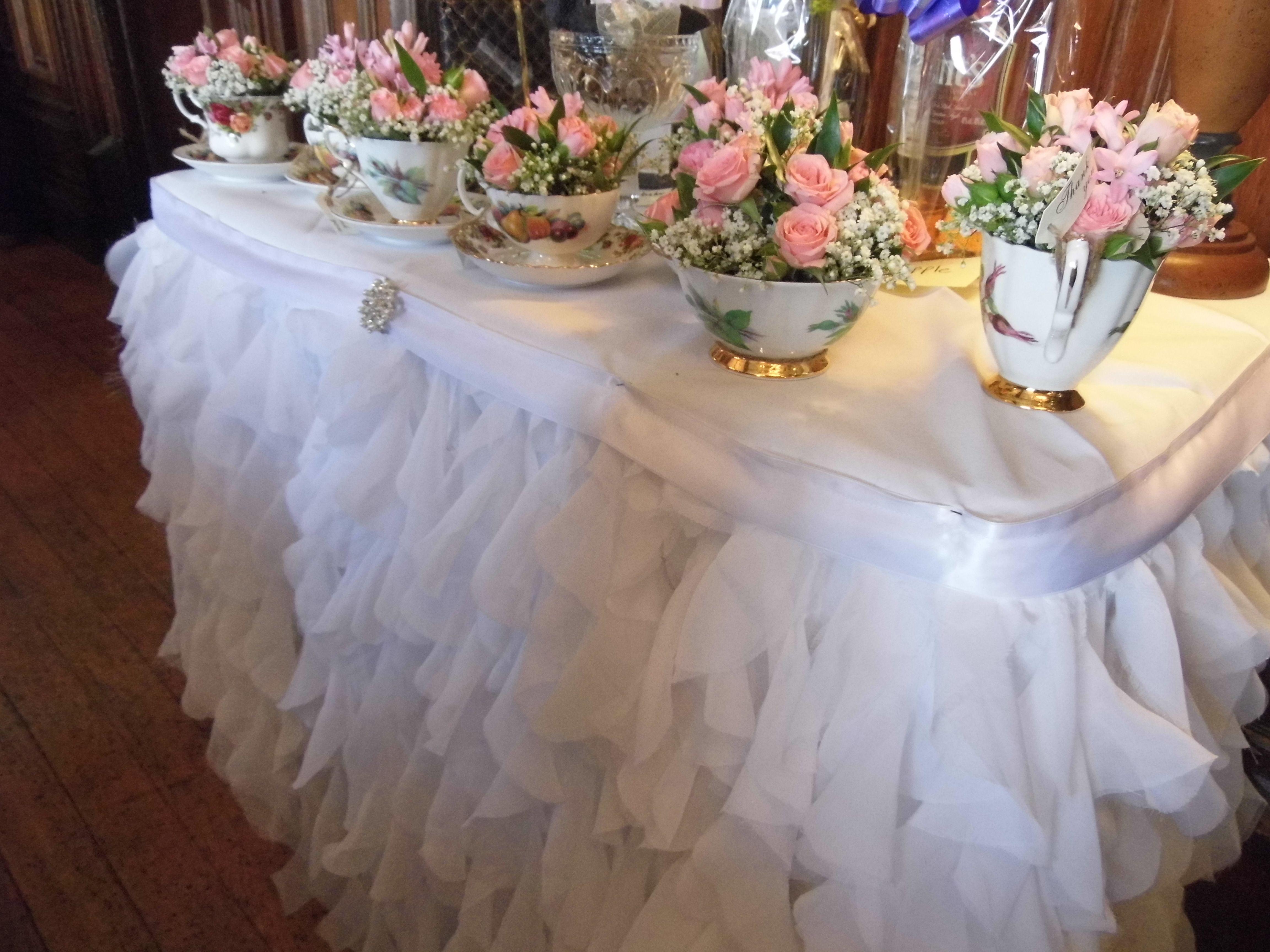 White Ruffle skirt for the Cake Table