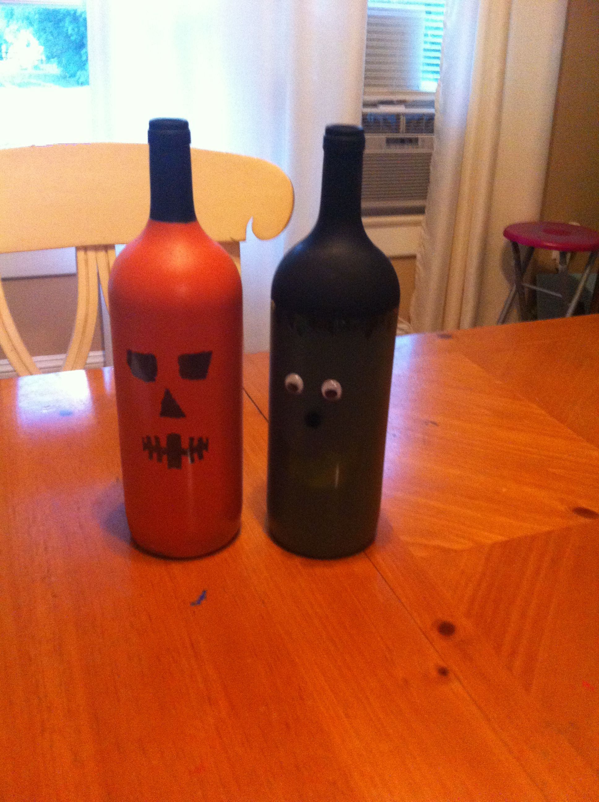 Diy Halloween Wine Bottle Craft Not My Best Work But I M Learning As I Go Might Do Som Halloween Wine Bottle Crafts Halloween Wine Bottles Wine Bottle Crafts
