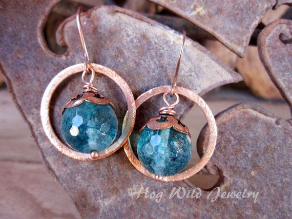 Handcrafted Artisan Copper and Quartz Earrings by hogwildjewelry