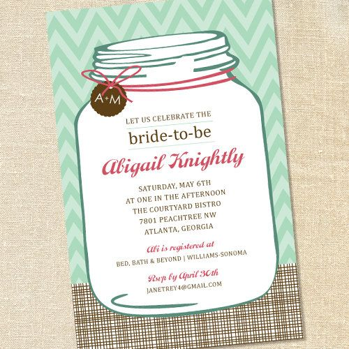 mint green chevron mason jar invitations for bridal showers wedding graduation parties parties by sweet wishes stationery
