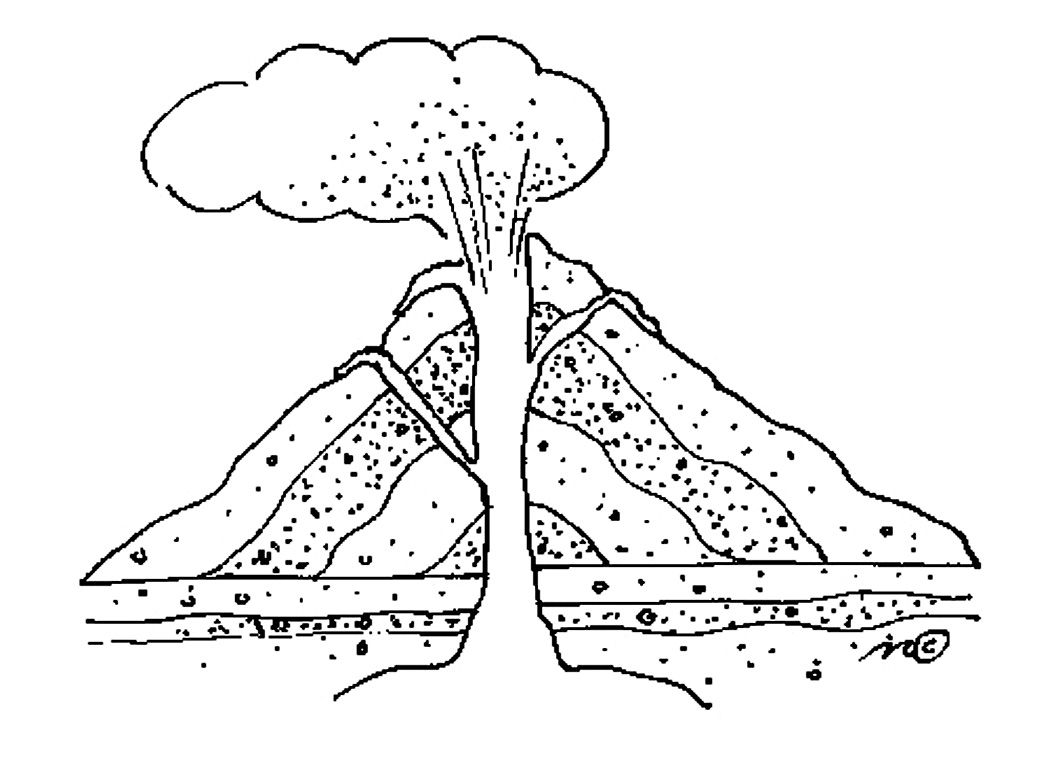 volcano coloring page - Google Search   Coloring pages [ 764 x 1050 Pixel ]