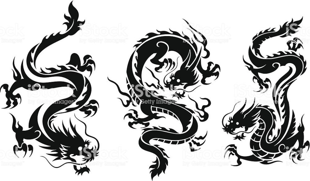 Set Of Three Dragons Royalty Free Set Of Three Dragons Stock Illustration Download Image Now Dragon Illustration Celtic Dragon Tattoos Dragon Tattoo Art