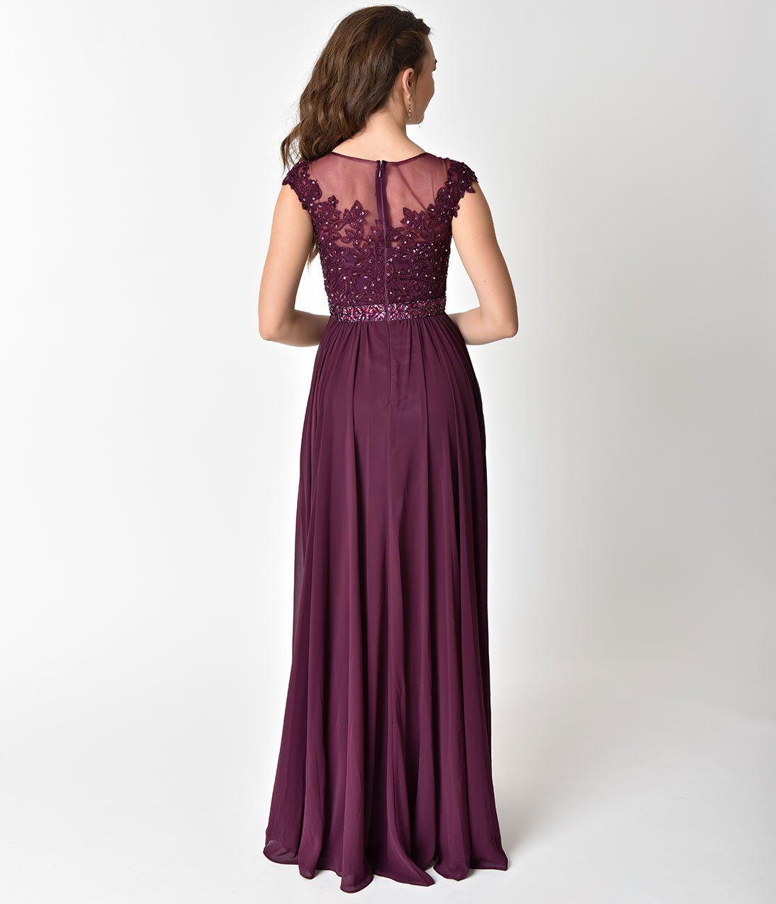 Eggplant Purple Embellished Lace & Chiffon Cap Sleeve Prom