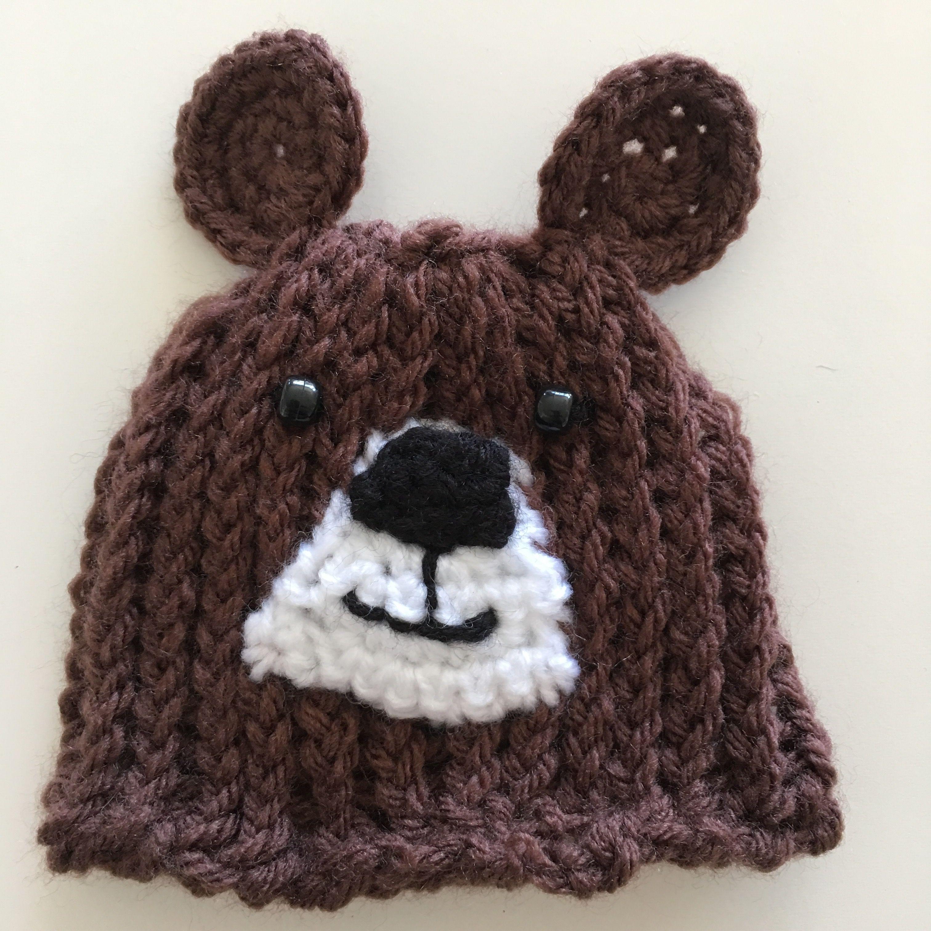Newborn baby bear hat made on a loom crocheted ears and nose newborn baby bear hat made on a loom crocheted ears and nose bankloansurffo Gallery