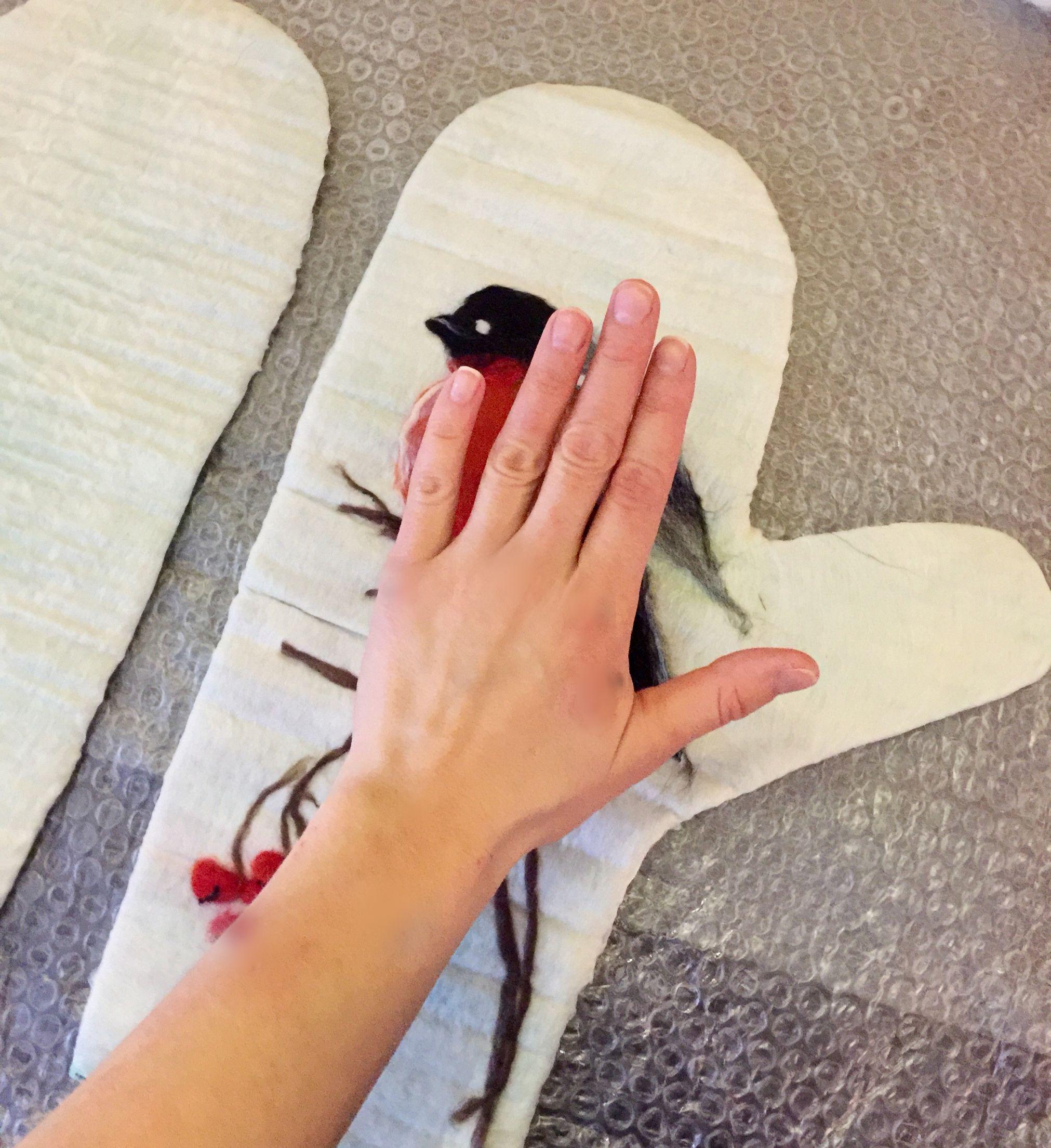 схема снегири на рукавицах