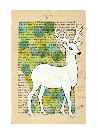 White Deer - Signert trykk i A3 Størrelse  Artist:Annette Mangseth  Carambatack design - Norway