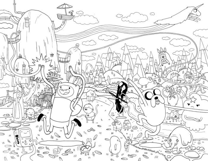 Adventure Time Finn And Jake With Friends Festive Coloring Pages ...