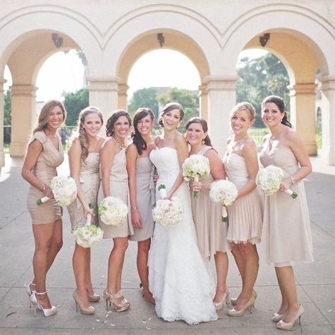 Short mismatched nude-colored dresses with matching bouquets ...