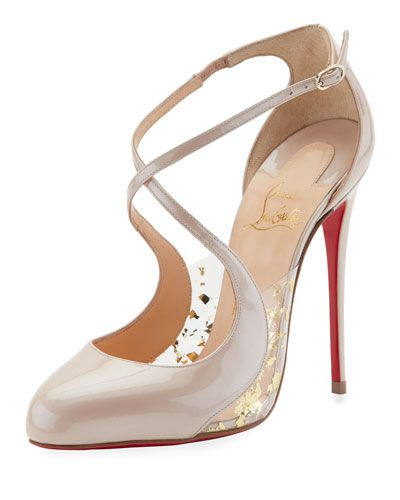 4f51c01fecd X3KLV Christian Louboutin Crossettinetta Patent Red Sole Pump, Nude ...