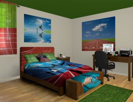 Men's and Teen Boy Track Athlete Bedroom at http://www.visionbedding.com/Track-Teen-Boy_Bedroom-rm-23185  #Home Decor