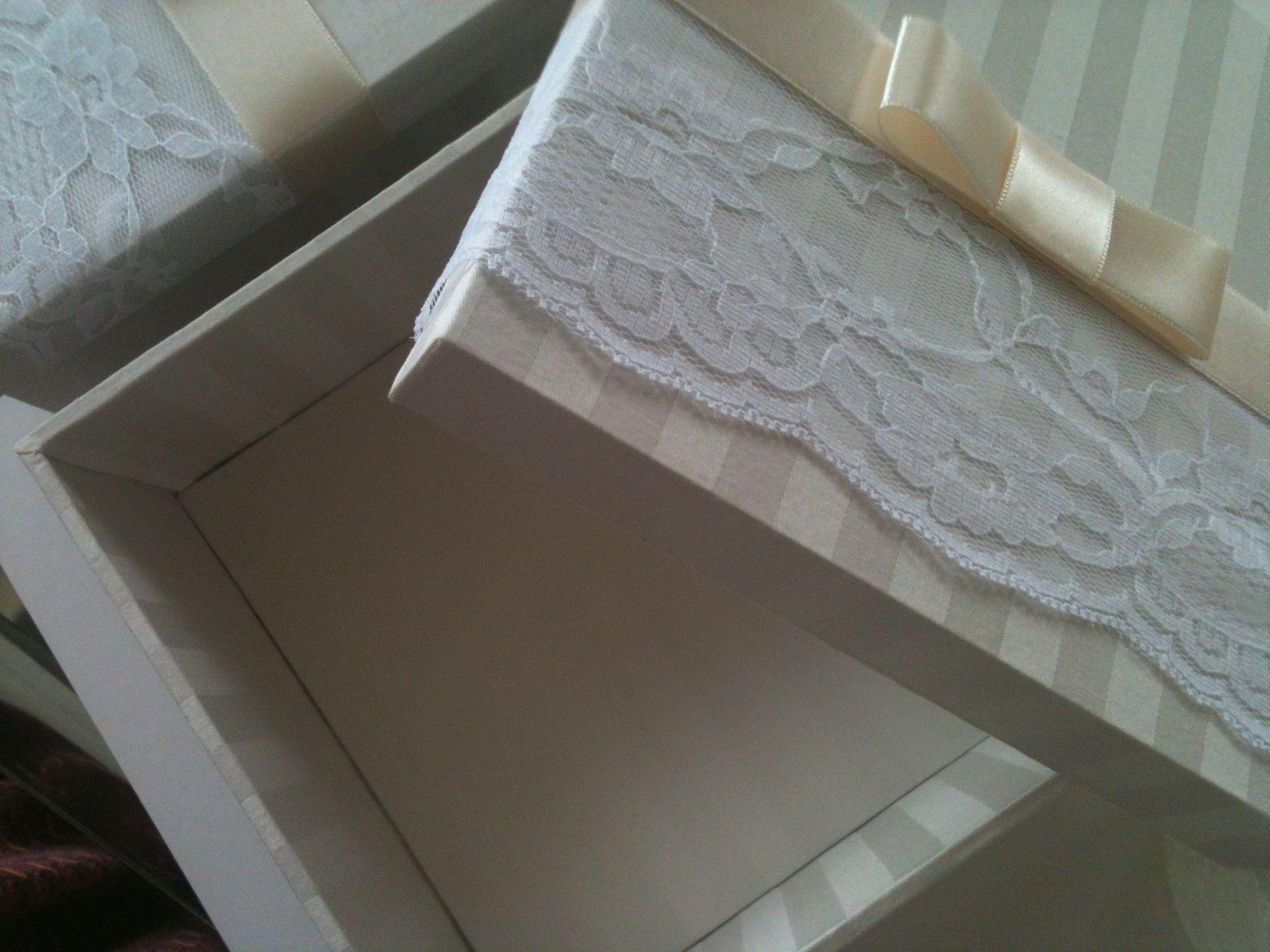 Renda e jacquard caixa para bem casado - lembrança casamento