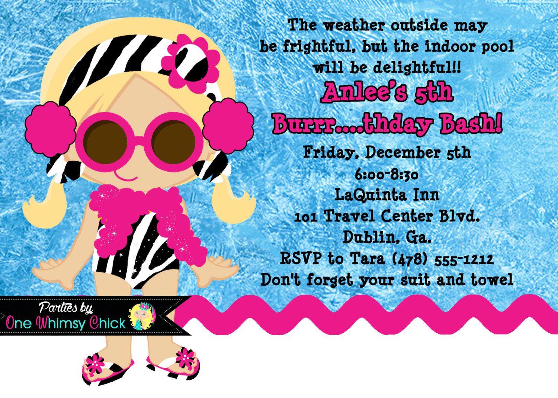 Winter Pool Party Birthday Invitation, Printable or Printed ...