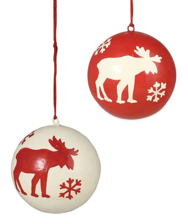 Sale Christmas Ornaments Canada: Snowflake Moose Ball Ornaments