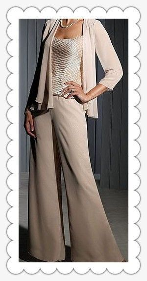 2015 New Modern Custom Made Long Sleeves Mother Of The Bride Pant Suits Wedding Mother Of Bride Dress Mother Of The Bride Suits Wedding Pants Mothers Dresses
