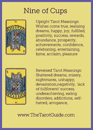 Tarot Flashcards – Nine of Cups Tarot Upright and Reversed