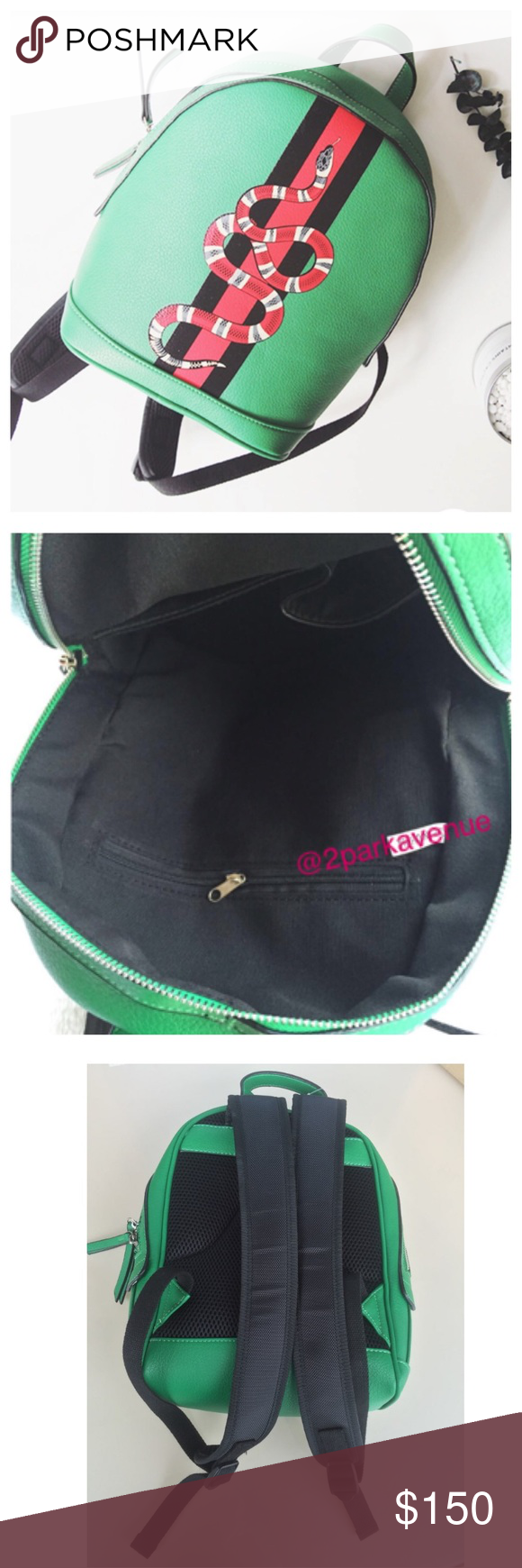 9b5eec5dbe34 NWOT Gucci Web and Snake Style Backpack 📍2 BLACK + 3 GREEN📍 Brand New  Boutique similar to Gucci Web and Snake Style backpacks, in faux leather  material ...