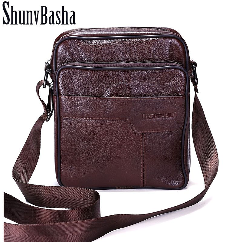 e7c44f73ee10 ShunvBasha Business Men Genuine Leather Bag Natural Cowskin Men Messenger  Bags Vintage Men s Cowhide Shoulder Crossbody Bag ZP06